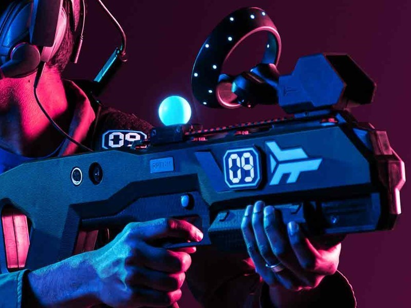 The zero latency controller gun has no wires and responds instantly.